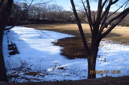 左側(2番ホ-ル:ソフトボール球場側)は残雪が多いですが、他は多少ぬかるみ気味も雪は有りません。