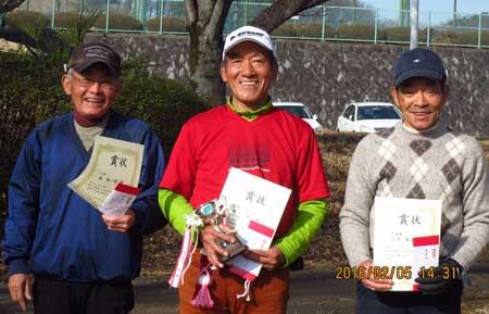 右から、準優勝:武澤さん、 優勝:歌川さん、 3位:俊さん