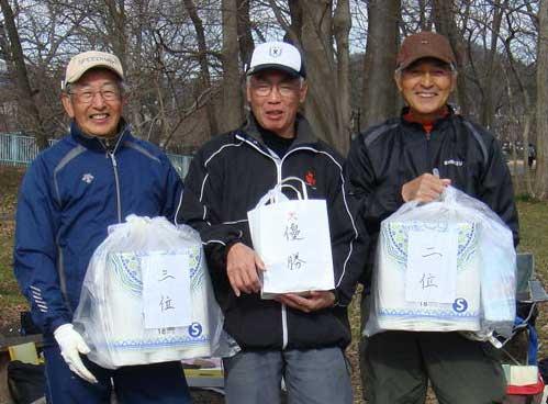 右から、準優勝:小泉晋さん、 優勝:水上さん 、3位:伴さん
