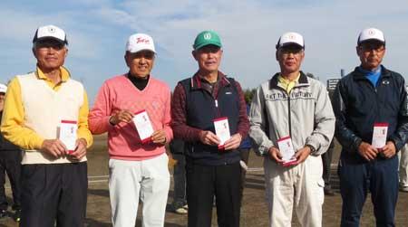 男子Mクラス 右から二人目4位:水上昭太郎さん、中央3位:野口勲さん